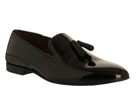 mens poste aristocrat loafers black patent leather formal