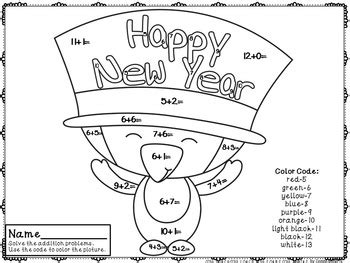 new year s colors happy new year color by code addition facts 0 20 ccss