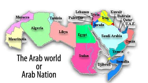 Map Of The Arab World by Arab World Geography And Arab Countries