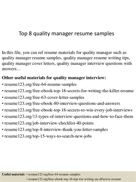 top 8 quality manager resume sles