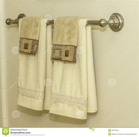 hanging towels in bathroom bathroom towel rack stock image image of fixture