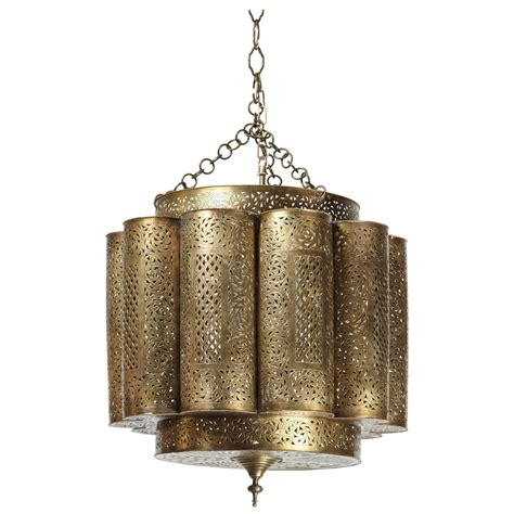 Moroccan Style Chandelier Large Pierced Brass Moroccan Chandelier In Alberto Pinto Style For Sale At 1stdibs