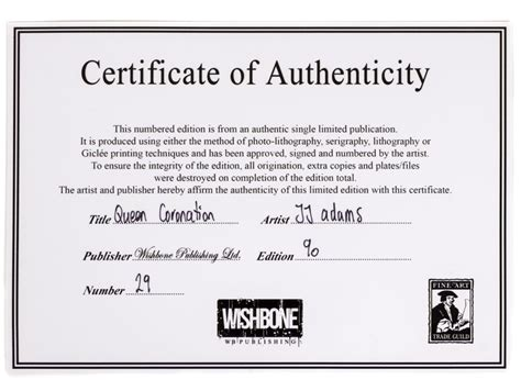 limited edition print certificate of authenticity template jj signed limited edition coronation