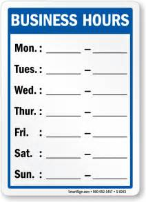 store hours template free business hours signs