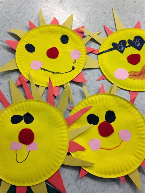 Summer Paper Crafts - paper plate sun family crafts