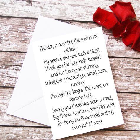 Bridesmaid Thank You Card, Bridesmaid Gift, Bridesmaid