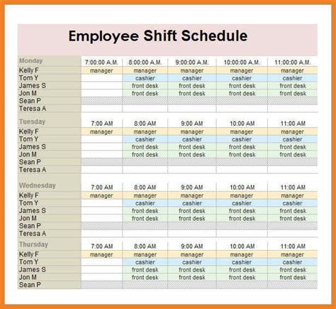 monthly work schedule template word format resume