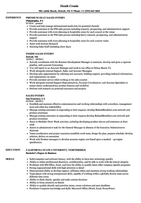 sle of resume for internship sales intern resume sles velvet