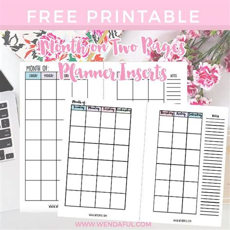 free printable personal planner inserts free undated month on two pages planner inserts