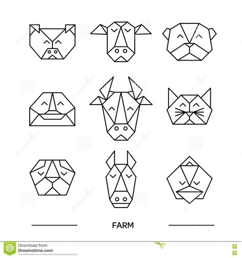 origami farm animals animals farm origami 9 stock vector image 73821164