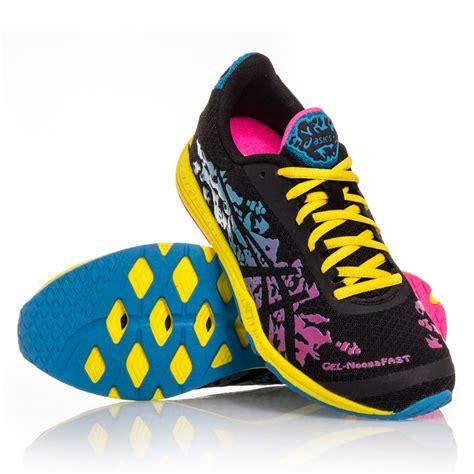 asics gel noosafast womens racing shoes pink yellow