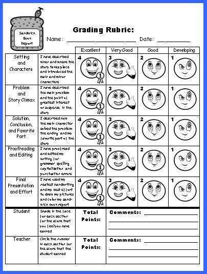 Free Printable Book Report Rubric by Sandwich Book Report Project Templates Printable Worksheets And Rubric