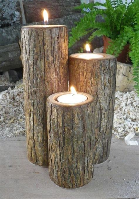 Home Interior Candle Holders diy projects tree trunk decoration in the form of flower
