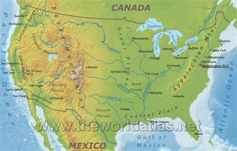 physical map of the united states rivers and mountains