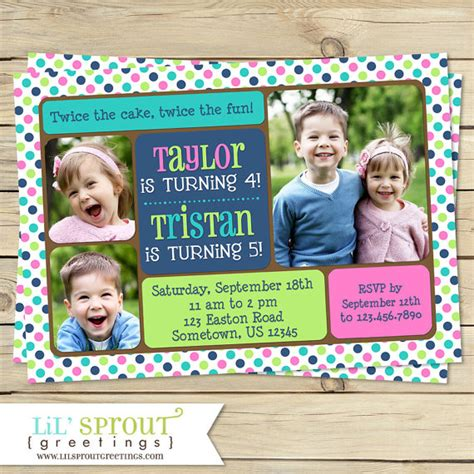 joint or sibling photo birthday invitation you print