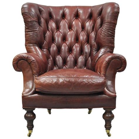 Chesterfield Wing Armchair by Oversized Lillian August Brown Tufted Leather Chesterfield Wing Chair For Sale At 1stdibs