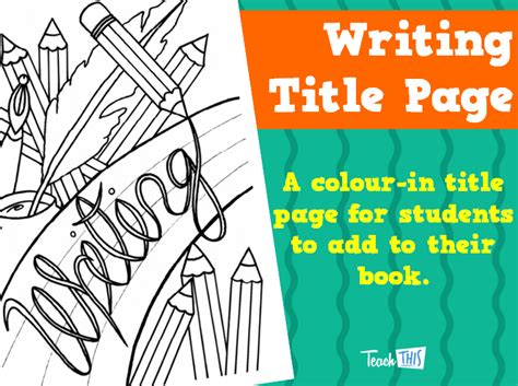 writing title page printable title pages for primary