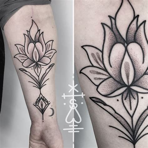 lotus tattoo dotwork the contrasting soft bold blackwork tattoos of sarah