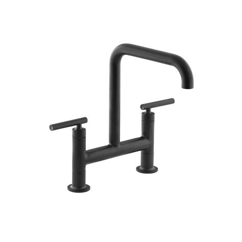 kitchen faucet black kohler purist 2 handle bridge kitchen faucet in matte black k 7547 4 bl the home depot