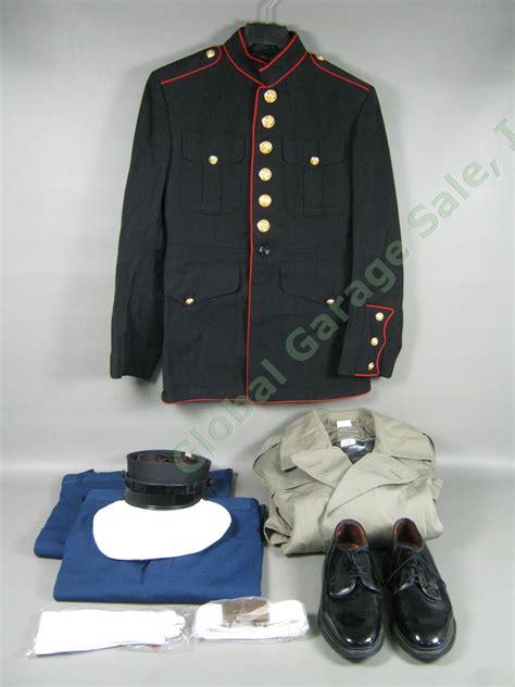 usmc marine corps dress blues trench coat belt