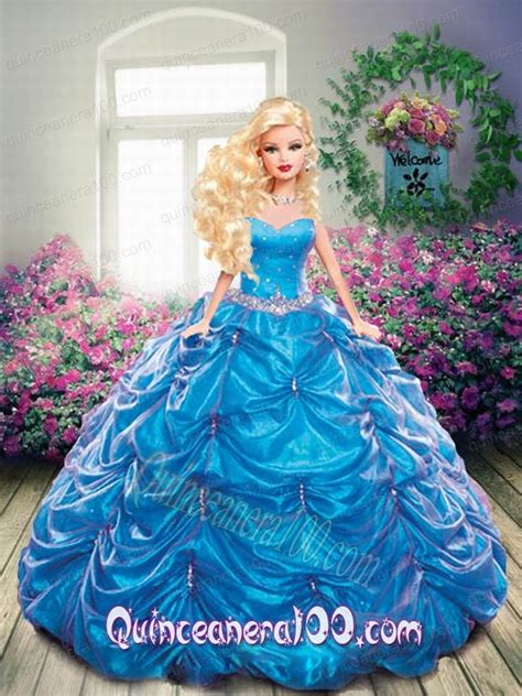 Sale 15 Babydoll Blue S beading and ups quinceanera dress for doll in