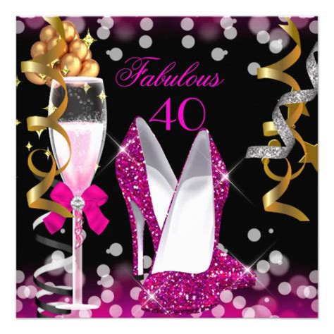 Fabulous At 40 Decorations by Fabulous 40 Pink Gold Black Bubbles Invitation