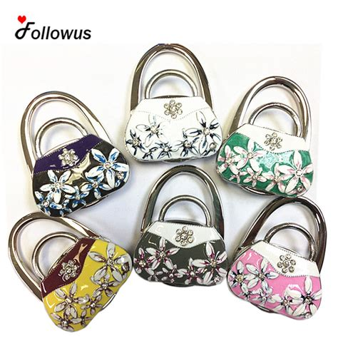 Bag Hanger 3d 2017 new 3d floral bag hook metal foldable bag purse hook