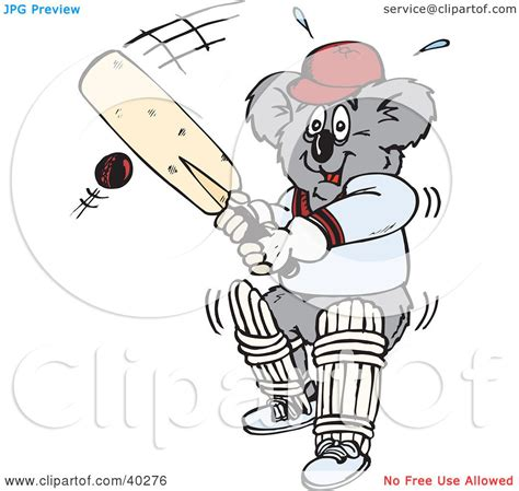 Gamis Black White Dannis No 5 clipart illustration of a koala batting during a of