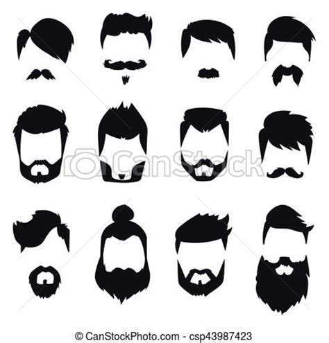 graphics design haircuts vector illustration of hairstyle beard and hair face cut