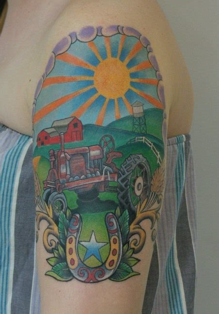 farming tattoos tractor farm inked