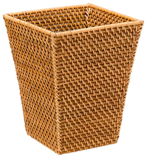 waste basket square waste basket in rattan honey brown contemporary