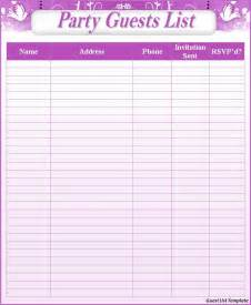 guest list template word guest list templates free to do list