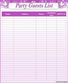 Template For Guest List Guest List Templates Free To Do List