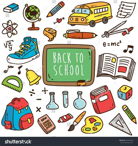 school supplies icon set back back to school themed cartoon icon set of school supplies