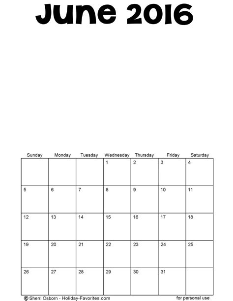 blank printable june 2016 calendar printable june 2016 calendars holiday favorites