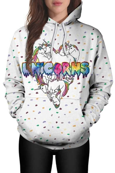 unicorn hoodie pattern fashion cartoon unicorn pattern long sleeve casual hoodie