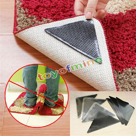stop rug corners curling up ruggies rug carpet mat grippers non slip grip corners anti skid silicone ebay