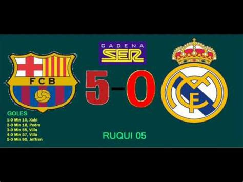f c barcelona 5 0 real madrid goles audio cadena ser youtube - Cadena Ser Goles Madrid