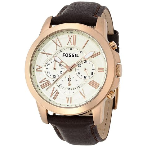 Fossil Fs4991 Original new mens fossil grant gold chrono brown leather