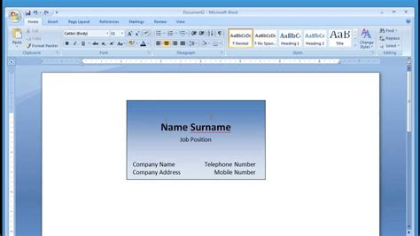 how to create business cards in word 2007 microsoft word and printing business card 1 2