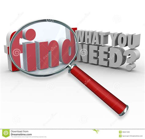 Find Info On Find What You Need Magnifying Glass Searching For Information Royalty Free Stock