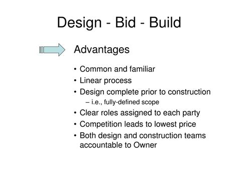 design and build contract advantages and disadvantages ppt project delivery methods powerpoint presentation
