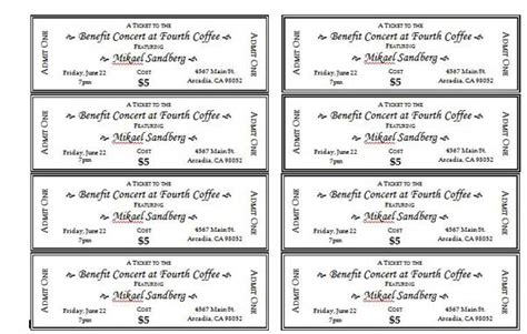 fundraiser tickets template free event ticket templates 1 pinteres