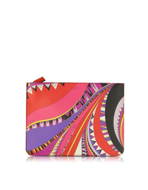 Pucci Rosone 010 Print Two Fold Wallet by Emilio Pucci Niki Signature Print Cosmetic Pouch In