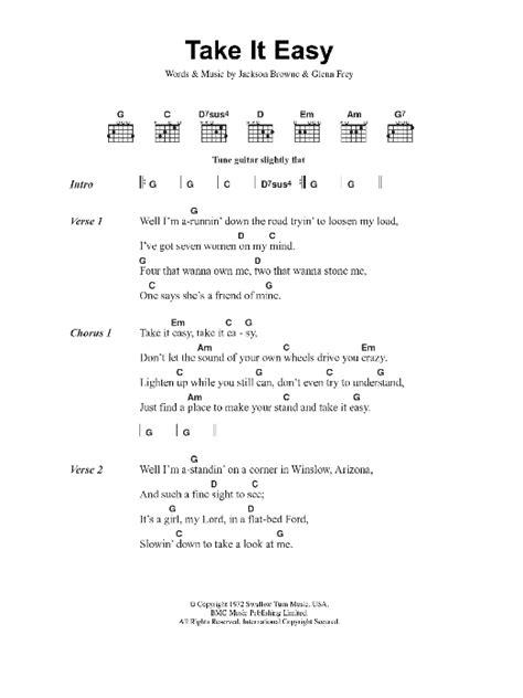 Take It Easy Sheet Music | Eagles | Lyrics & Chords