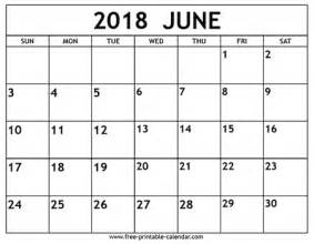2018 Calendar For June June 2018 Calendar Free Printable Calendar