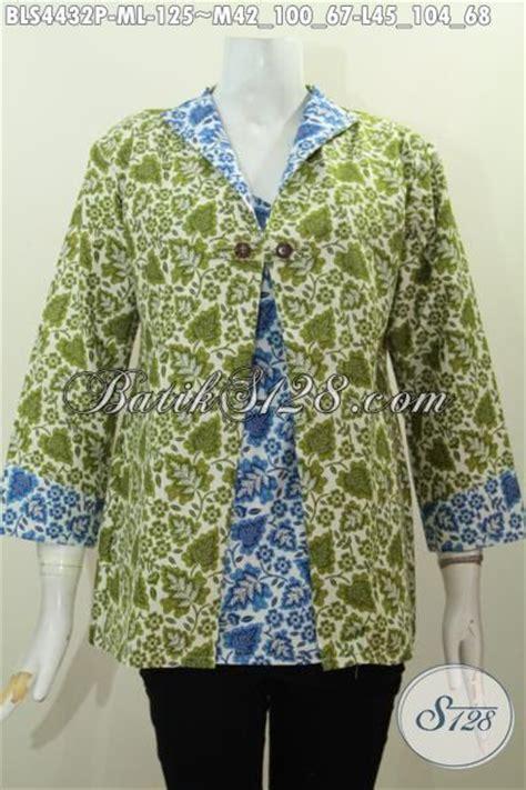 Baju Warna Hijau Kombinasi baju blus istimewa kombinasi warna hijau dan biru produk busana batik cewek terkini model jas