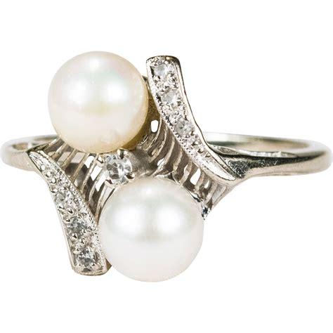 elegant art deco bypass pearl diamond ring 10k gold