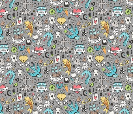 doodle blue doodle blue on grey fabric caja design spoonflower