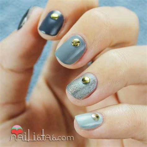 imagenes de uñas acrilicas cortas u 241 as cortas decoradas con tachuelas y degradado